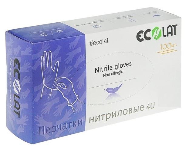 Купить ECOLAT Перчатки нитриловые, голубые, размер XS / 4U EcoLat 100 шт
