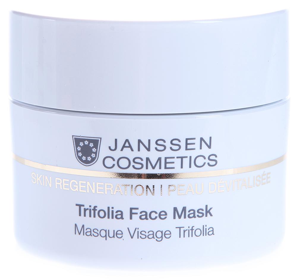 JANSSEN Маска насыщенная anti-age с фитоэстрогенами / Trifoli Face Mask SKIN REGENERATION 50млМаски<br>Средство, идеально дополняющее уход за возрастной кожей! Обогащенная фитоэстрогенами маска дарит роскошное удовольствие благодаря нежной, кремовой консистенции, помогает скомпенсировать гормональные изменения, способствует расслаблению лицевых мышц и разглаживает кожу изнутри. Результат   гладкая, увлажненная кожа и заметное улучшение контура лица. Активные ингредиенты: фитоэстрогены красного клевера, гиалуроновая кислота, масла макадамии и купуасу, витамин Е, комбуча, бисаболол и сквалан. Способ применения: наносите Trifolia Face Mask плотным слоем на очищенную кожу 2-3 раза в неделю. Оставьте на 10-15 минут, остатки удалите теплым влажным компрессом. Затем нанесите соответствующий крем. В салоне применять согласно регламенту процедуры.<br><br>Объем: 50