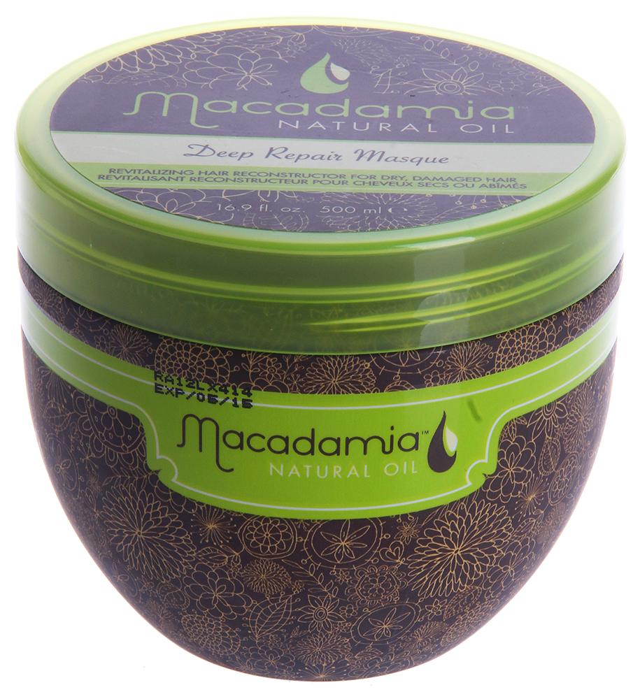 MACADAMIA Natural Oil Маска восстанавливающая интенсивного действия с маслом арганы и макадамии / Deep Repair Masque 500млМаски<br>Оживляющий реконструктор сухих, поврежденных волос. Сочетание масла макадамии и арганы вместе с маслами чайного дерева, ромашки, алоэ и экстрактов водорослей оживляет и восстанавливает волосы, глубоко питая их и возвращая им эластичность и блеск, с пролонгированным кондиционирующим эффектом. Активные ингредиенты: Масло макадамии и арганы, масла чайного дерева, ромашки, алоэ, экстракты водорослей. Способ применения: Распределите небольшое количество маски на чистых, вымытых шампунем и подсушенных полотенцем волосах от корней до кончиков. Оставьте для воздействия на 7 минут. Смойте. Не используйте чаще двух раз в неделю.<br><br>Объем: 500<br>Вид средства для волос: Восстанавливающий