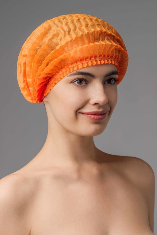 ЧИСТОВЬЕ Шапочка Шарлотка спанбонд оранжевая 50 шт/уп