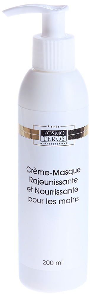 KOSMOTEROS PROFESSIONAL PARIS Крем-маска омолаживающая питательная для рук 200млМаски<br>Уникальный продукт, в состав которого входят вещества, способствующие синтезу собственных глюкоза-миногликанов, ответственных за восстановление коллагена и эластина. Действие: Смягчает и питает сухую, обезвоженную кожу рук. Удерживает влагу в глубоких слоях кожи. Активные ингредиенты: ферментативный гидролизат яичного белка, масло кукурузное, масло оливковое, экстракт хмеля, экстракт овса, экстракт душицы, экстракт ромашки, глицерин, масло какао, ланолин, масло авокадо, воск пчелиный, экстракт косточек винограда, экстракт расторопши, витамин F, Витамин A. Способ применения: нанести массирующими движениями крем-маску на область рук. Эффективность маски увеличивается, если перед ней применить специальный пилинг - Крем   микродерм.<br><br>Тип: Крем-маска