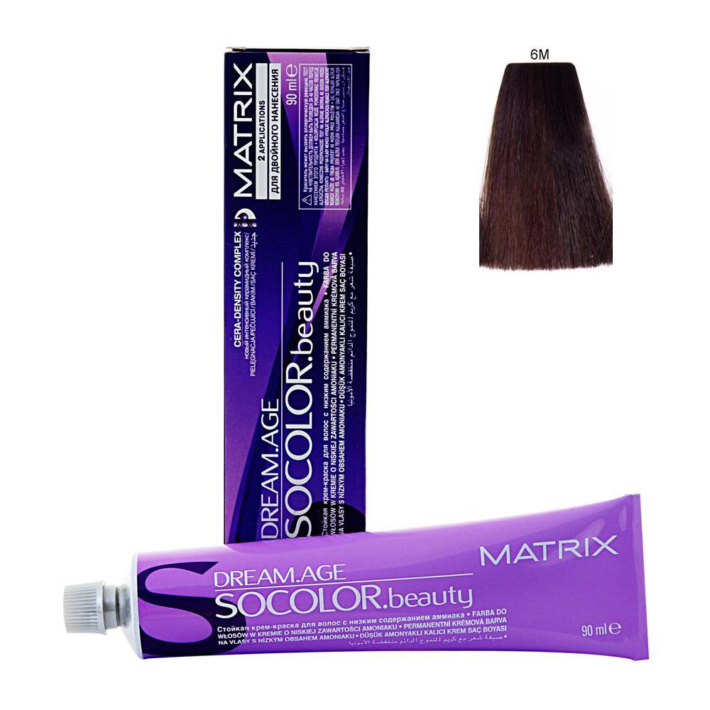 MATRIX 6M краска для волос / СОКОЛОР БЬЮТИ D-AGE 90млКраски<br>Крем-краска Dream Age специально разработана для проведения окрашивания седых волос. Оттенки для волос с содержанием седины более 50%. Применение запатентованной технологии ColorGrip обеспечивает четкий и яркий оттенок, благодаря самонастраивающимся красителям, которые взаимодействуют с натуральным пигментом волоса. Также в состав краски входит кондиционер Cera-Oil, что обеспечивает бережных уход, укрепляет и питает структуру волос. Крем-краска удобно наносится и обладает приятным фруктовым ароматом. Богатый пигментами краситель: 100% закрашивание седины Мультирефлективный цвет Формула с низким содержанием аммиака Технология Pre-Softenung смягчает резистентный седой волос перед окрашиванием Не нужно смешивать с другими оттенками Используется с 6% Крем-Оксидантом Способ применения: смешайте краску с активатором в нужных пропорциях, после чего нанесите смесь на волосы и оставьте на 20-45 минут. После процедуры тщательно смойте краску теплой водой и высушите волосы полотенцем.<br><br>Цвет: Блонд<br>Объем: 90