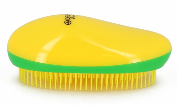 DEWAL BEAUTY Щетка массажная для легкого расчесывания волос, овальная, цвет желто-зелено-желтый фото
