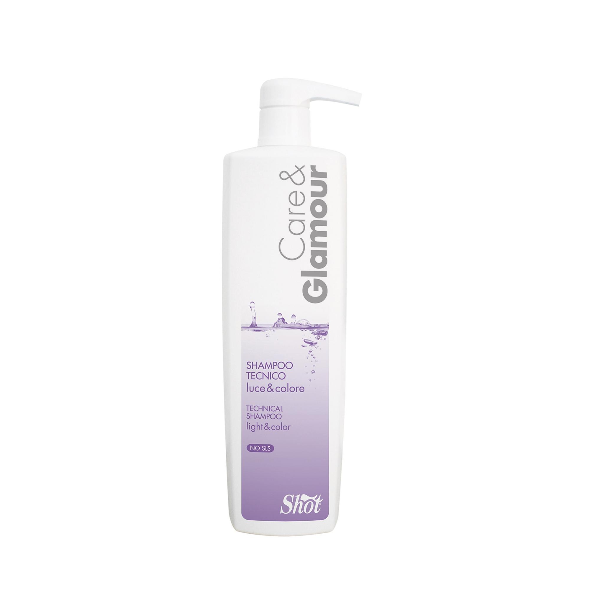 SHOT Шампунь технический для блеска и стойкости цвета / SHOT CARE &amp; GLAMOUR 1000 млШампуни<br>Придает волосам блеск и шелковистость, не утяжеляет. Является финишным продуктом в создании прически. Активные ингредиенты: ухаживающие компоненты . Способ применения: распылить на волосы на расстоянии 20-30 см.<br><br>Типы волос: Для всех типов