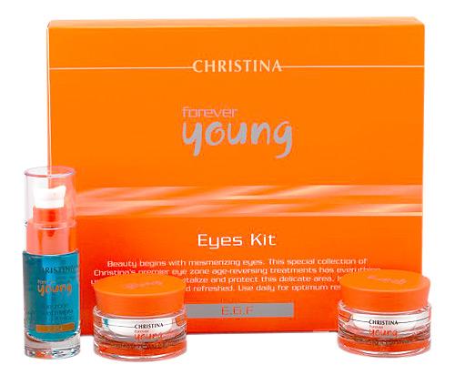 CHRISTINA Набор для глаз (3 препарата) / Eyes Kit FOREVER YOUNGНаборы<br>Действие: Компания Christina представляет специальную коллекцию первоклассных омолаживающих средств для зоны глаз. В этом наборе есть все, что Вам необходимо для восстановления, оживления и защиты этой деликатной зоны. Для оптимальных результатов используйте препараты ежедневно. Набор включает 3 препарата: 1. Rejuvenating Day Eye Cream - Омолаживающий дневной крем для зоны глаз (30 мл) 2. Eye Zone Treatment - Гель для зоны вокруг глаз с витамином К для всех типов кожи (30 мл) 3. Active Night Eye Cream - Ночной крем для глаз Супер-актив (30 мл)<br>