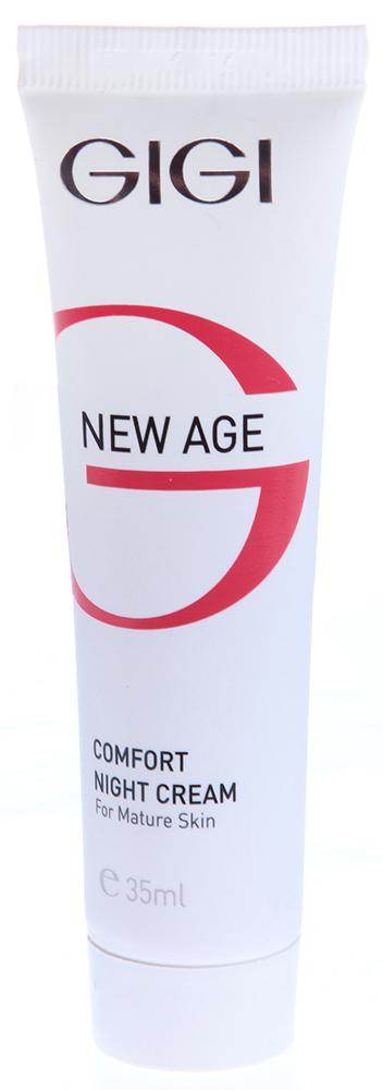 GIGI Крем-комфорт ночной (миниатюра) / Comfort Night Cream NEW AGE 35млКремы<br>Дополняя дневной крем, регенерирующий ночной крем обеспечивает комплексный уход за кожей женщин старше 40лет и положительно влияет на стареющую кожу. Действие: Он усиливает синтез коллагена; стимулирует обновление клеток кожи; усиливает синтез липидов эпидермиса. Воздействуя на кожу в часы сна, крем делает ее к утру гладкой, упругой и нежной, морщины разглаживаются, кожа приобретает ровный и здоровый цвет. Активные ингредиенты: Сквален, лецитин, экстракт зародышей сои, молочная кислота, аллантоин, гидролизированный соевый протеин, масло Ши, витамин Е. Способ применения: Наносить вечером на очищенную кожу лица легкими массажными движениями.<br><br>Объем: 35<br>Назначение: Морщины<br>Время применения: Ночной
