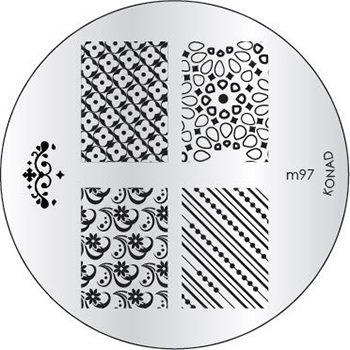 KONAD Форма печатная (диск с рисунками) / image plate M97 10грСтемпинг<br>Диск для стемпинга Конад М97 с узорами из несравненных абстракций. Несколько видов изображений, с помощью которых вы сможете создать великолепные рисунки на ногтях, которые очень сложно создать вручную. Активные ингредиенты: сталь. Способ применения: нанесите специальный лак&amp;nbsp;на рисунок, снимите излишки скрайпером, перенесите рисунок сначала на штампик, а затем на ноготь и Ваш дизайн готов! Не переставайте удивлять себя и близких красотой и оригинальностью своего маникюра!<br>