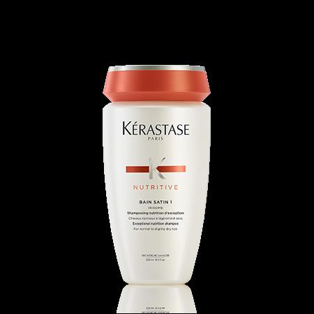 KERASTASE Шампунь-ванна САТИН р1 / НУТРИТИВ 250млШампуни<br>В каждой шампунь-ванне Satin содержатся такие активные вещества, как глюкоза, протеины и липиды, восстанавливающие баланс питания волос от корней до кончиков и защищающие волосы от пересушивания. Волосы становятся более мягкими и наполняются сиянием. Активные ингредиенты: Оптимальная комбинация Gluco-Active 1.   Глюкоза: дает заряд энергии, питая волокно волоса.   Протеины: восстанавливают питание волоса по длине, оставляя ощущение мягкости.   Липиды: создают защитную оболочку, предотвращая процесс пересушивания волос. .Формула этого продукта обогащена высоко-активными ухаживающими компонентами, которые увеличивают питательные свойства Комплекса  IRISOME-, более концентрированного в сравнении с формулой шампунь-ванна Satin 1. Способ применения: нанесите на влажные волосы. Массирующими движениями распределите средство, тщательно смойте. При необходимости повторить.<br>