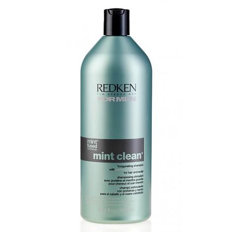 REDKEN Шампунь тонизирующий Минт Клин / FOR MEN 1000мл~Шампуни<br>Тонизирующий шампунь для волос и кожи головы с перечной мятой и охлаждающим эффектом. Очищает и укрепляет волосы, тонизирует кожу головы и обладает охлаждающим эффектом. Содержит успокаивающие компоненты для кожи головы. Технология Mint-Fused, протеины придают силу, перечная мята для свежести.<br><br>Вид средства для волос: Тонизирующий<br>Пол: Мужской