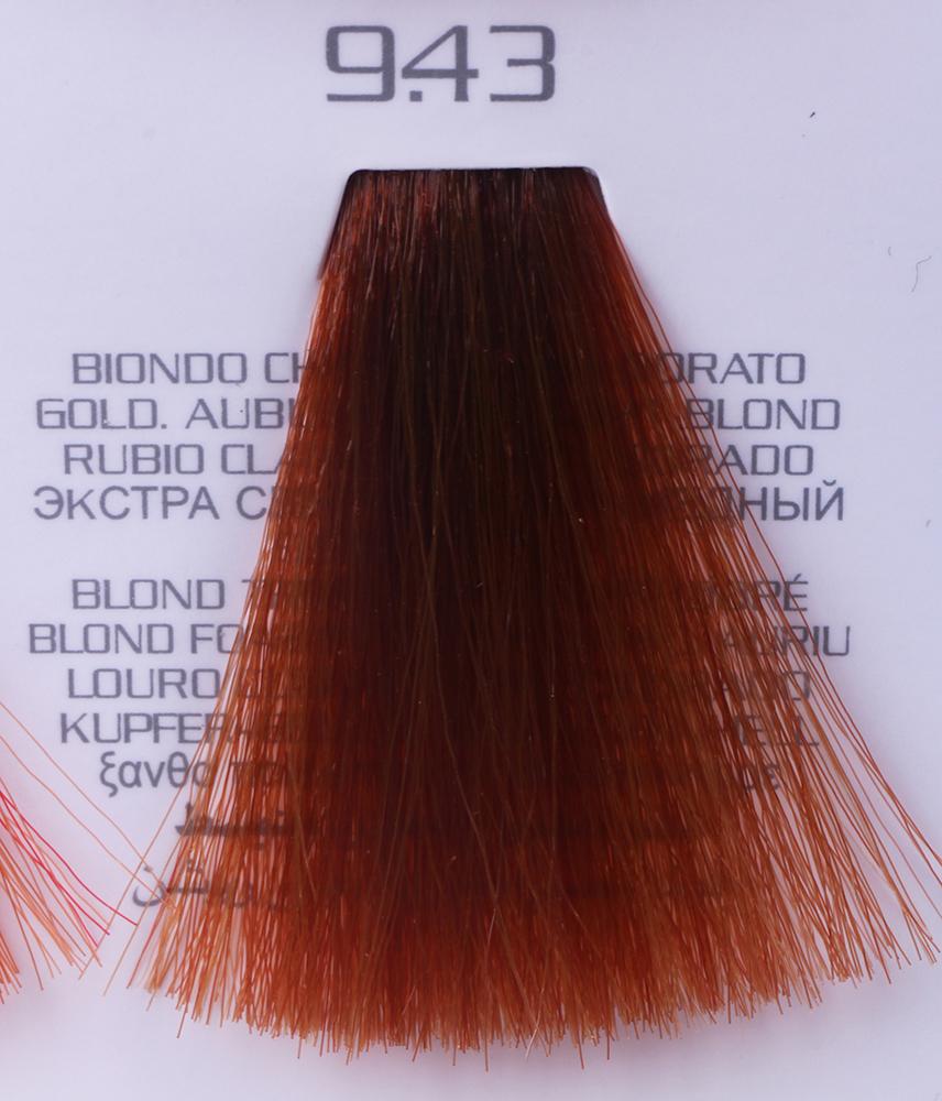 HAIR COMPANY 9.43 краска для волос / HAIR LIGHT CREMA COLORANTE 100млКраски<br>9.43 экстра светло-русый медный золотистыйHair Light Crema Colorante   профессиональный перманентный краситель для волос, содержащий в своем составе натуральные ингредиенты и в особенности эксклюзивный мультивитаминный восстанавливающий комплекс. Минимальное количество аммиака позволяет максимально бережно относится к структуре волоса во время окрашивания. Содержит в себе растительные экстракты вытяжку из арахиса, лецитин, витамин А и Е, а так же витамин С который является природным консервантом цвета. Применение исключительно активных ингредиентов и пигментов высокого качества гарантируют получение однородного, насыщенного, интенсивного и искрящегося оттенка. Великолепно дает возможность на 100% закрасить даже стекловидную седину. Наличие 6-ти микстонов, а так же нейтрального бесцветного микстона, позволяет достигать получения цветов и оттенков. Способ применения: смешать Hair Light Crema Colorante с Hair Light Emulsione Ossidante в пропорции 1:1,5. Время воздействия 30-45 мин.<br><br>Вид средства для волос: Восстанавливающий<br>Класс косметики: Профессиональная