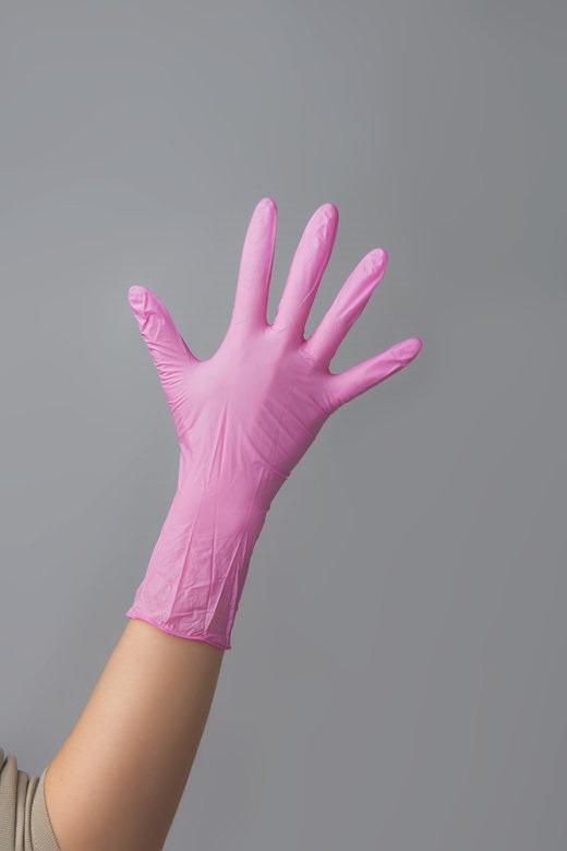 ЧИСТОВЬЕ Перчатки нитриловые розовые М SunViv 100 шт - Перчатки