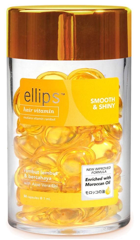 Купить ELLIPS Масло для интенсивного питания и увлажнения поврежденных волос, желтые капсулы / Smooth & Shiny 50 шт (45 г)