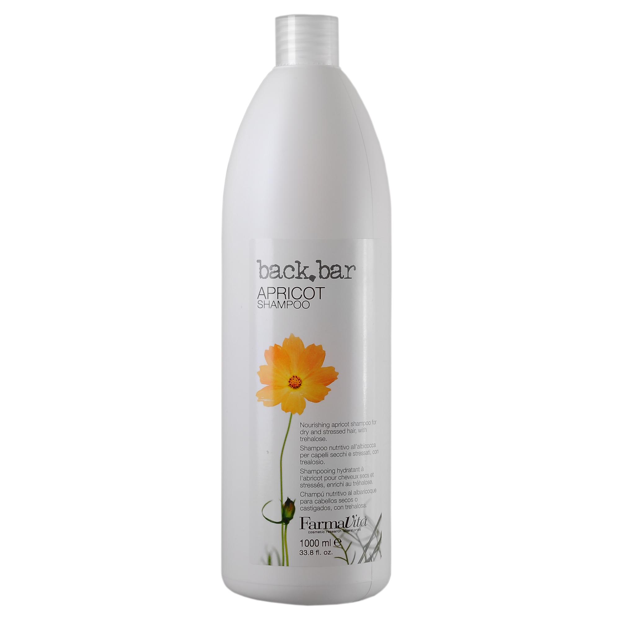 FARMAVITA Шампунь абрикос Apricot Shampoo / BACK BAR 1000 млШампуни<br>Шампунь абрикос из линии Back Bar (Бэк бар априкот) - специальный шампунь для сухих и повреждённых волос. Мягко очищает повреждённые и ослабленные волосы. Увлажняет волосы придаёт им шелковистый блеск. Способ применения: нанесите шампунь Back Bar Apricot на увлажнённую кожу головы. Массирующими движениями распределите по волосам, затем бережно смойте. При необходимости повторите процедуру. Нанесите подходящее для ваших волос средство для ухода. При обезвоживании кожи и волос рекомендуется совмещать шампунь с кондиционером Back Bar Beta-Carotene Conditioner или кондиционером Back Bar Extreme Conditioner.<br><br>Объем: 1000 мл