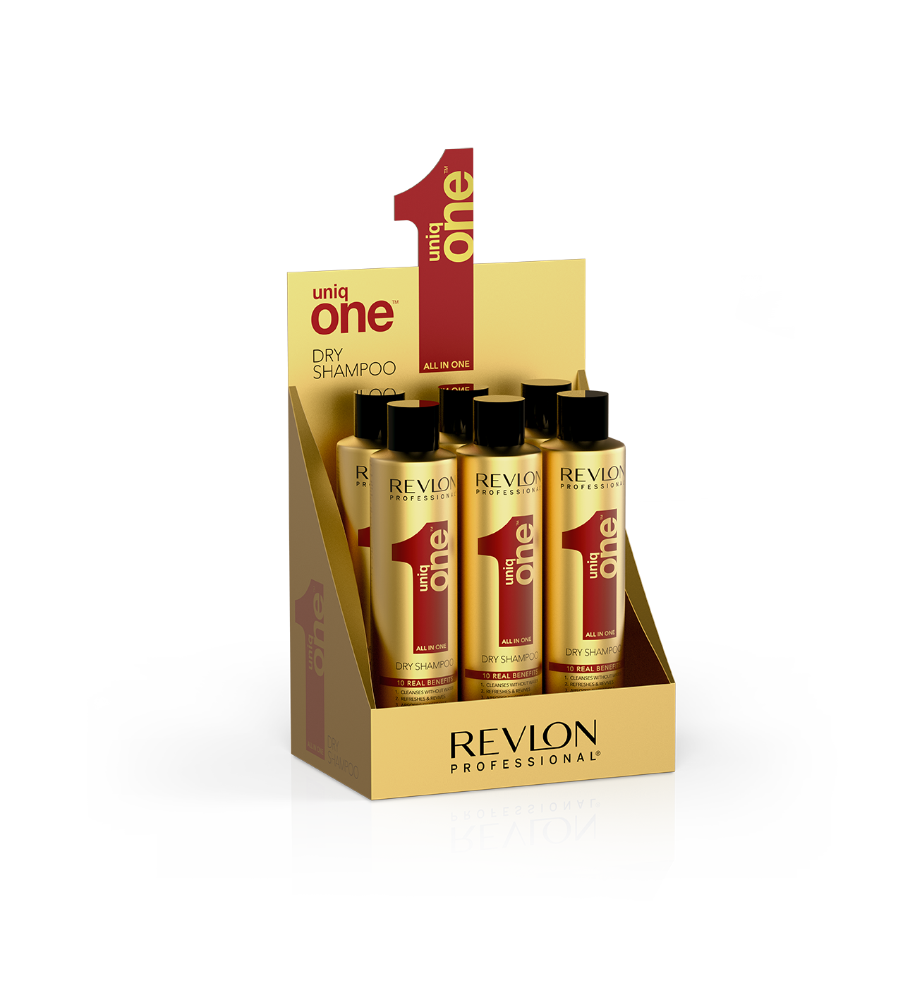 REVLON Professional Набор сухих шампуней / UNIQ ONE DRY SHAMPOO 6*300 мл revlon professional uniq one all in one conditioning shampoo 6 300 мл