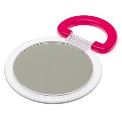 DEWAL BEAUTY Зеркало настольное, в матовой оправе, на пластиковой подставке красного цвета 230x154х10 мм