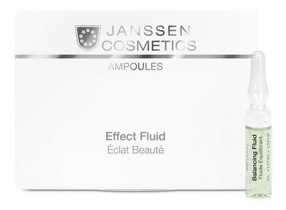 JANSSEN Концентрат ампульный Балансирующий / Balancing Fluid (combination skin) AMPOULES 7*2млАмпулы<br>Cодержит умный компонент инозитол из рисовых отрубей. Он повышает уровень увлажнения на сухих участках кожи и регулирует активность сальных желез на жирных. Другие ингредиенты снижают избыточный синтез себума и уменьшают размеры пор. Баланс комбинированной кожи быстро восстанавливается, исчезает сухость, предотвращаются воспаления, а жирный блеск сменяется ровным, матовым оттенком! Активные ингредиенты: инозитол, себорегулирующий комплекс (олеанолевая + нордигидрогваяретовая кислота), гиалуроновая кислота, экстракты красных водорослей Chondrus crispus, грибов Fomes officinalis и алоэ вера. Способ применения: оберните ампулу бумажной салфеткой и резким движением отломите ее кончик. Вылейте содержимое ампулы на ладонь и затем распределите его по коже слегка надавливающими движениями. Поверх нанесите соответствующий дневной или ночной крем. Только для наружного применения! В салоне применять согласно регламенту процедуры.<br><br>Типы кожи: Комбинированная<br>Назначение: Жирный блеск