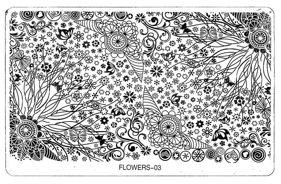 TNL PROFESSIONAL Трафарет металлический большой для стемпинга Сказочные цветы (в индивидуальной упаковке)
