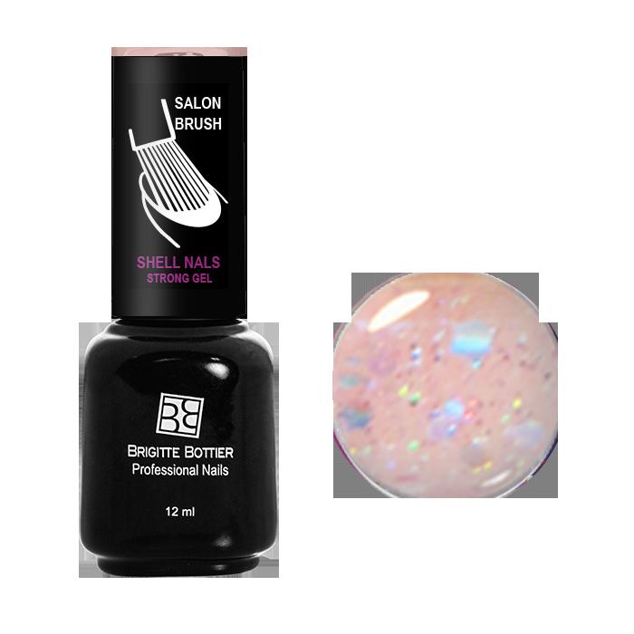 BRIGITTE BOTTIER 979 гель-лак для ногтей, нежно-розовый с большими блестками / Shell Nails 12 мл