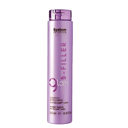 DIKSON Шампунь с Dulcemin LS 8594 интенсивное ухаживающее и наполняющее средство / B-FILLER 250млШампуни<br>Мягкий очищающий шампунь с кремовой консистенцией идеален для сухих, ломких и поврежденных волос. Bfiller Shampoo обогащен Dulcemin®LS8594, гликопротеином, полученным из сладкого миндаля и обладающим увлажняющими, смягчающими и питательными свойствами. Glam Bfiller Shampoo является первой фазой интенсивного уплотняющего ухода, благодаря которому даже сильно поврежденные волосы будут легко расчесываться, приобретут плотность и объем. Для оптимальных результатов продолжите уход с другими продуктами линии Glam Bfiller. Активные ингредиенты: Dulcemin®LS8594 (гликопротеин), миндаль. Способ применения: нанести на влажные волосы и мягко помассировать. Тщательно смыть. При необходимости повторить. Продолжите уход с уплотняющим концентратом Glam Bfiller Thickening Concentrate или используйте кондиционер Glam Bfiller Conditioner. Результат Сильно поврежденные волосы будут легко расчесываться, приобретут плотность и объем.<br><br>Объем: 250 мл<br>Вид средства для волос: Увлажняющий