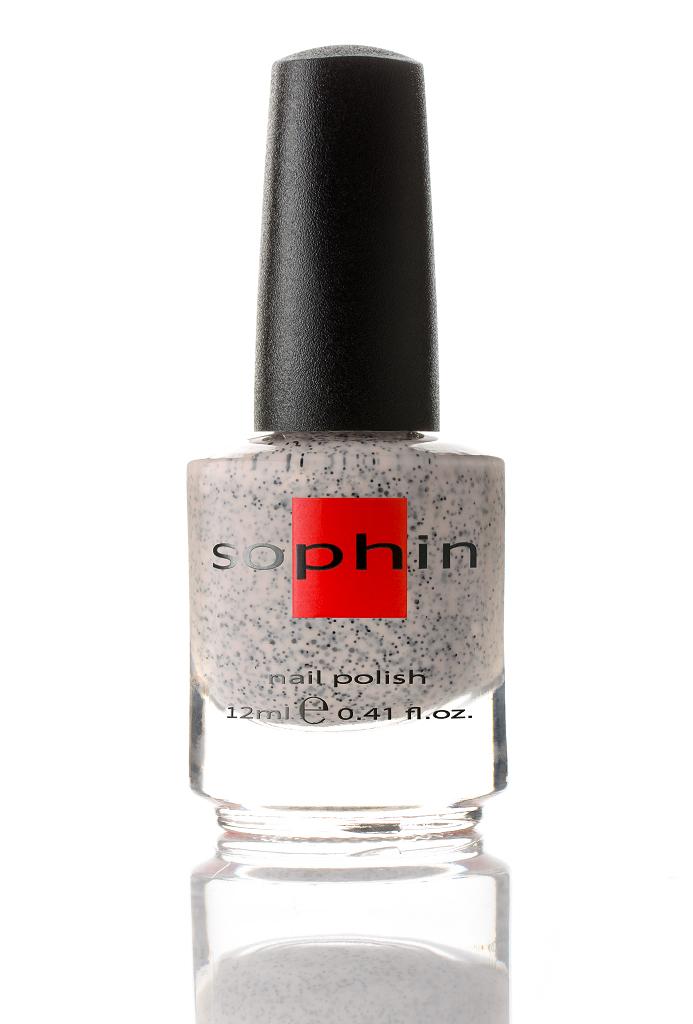 SOPHIN Лак для ногтей, бежевая база с черным неблестящим глиттером12мл