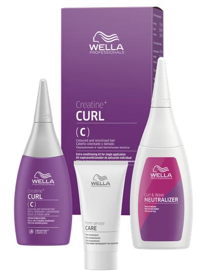 WELLA PROFESSIONALS Набор для окрашенных и чувствительных волос (лосьон 75 мл, фиксатор 100 мл, уход 30 мл) / Creatine+ Curl