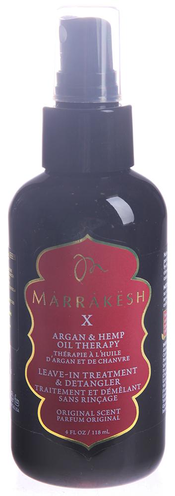 MARRAKESH Спрей-кондиционер несмываемый для волос / Marrakesh X Leave-in treatment &amp; detangler origin 118 млКондиционеры<br>Линия Original - классическое сочетание восточных пряностей, масла арганы и конопли. Cпрей-кондиционер Marrakeh X содержит восстанавливающую формулу, обогащённую питательными веществами Марокканского арганового масла и ультра укрепляющего конопляного масла, содержит в себе пантенол и растительные экстракты, мгновенно увлажняет и облегчает расчёсывание, одновременно восстанавливая и защищая структуру волос от повреждений. Обеспечивает длительную укладку, предотвращает электризацию волос, придавая в тоже время неповторимый глянцевый блеск вашим волосам. Способ применения: равномерно распылите небольшое количество спрея на чистые влажные волосы. Расчешите и приступите к укладке.<br><br>Тип: Спрей-кондиционер<br>Объем: 118 мл