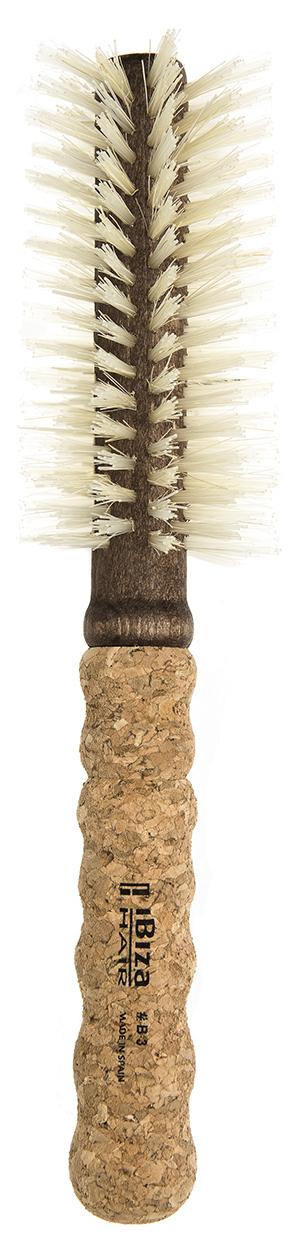 IBIZA HAIR Щетка круглая для укладки волос, осветленная щетина, диаметр 55 мм (пробка) - Брашинги