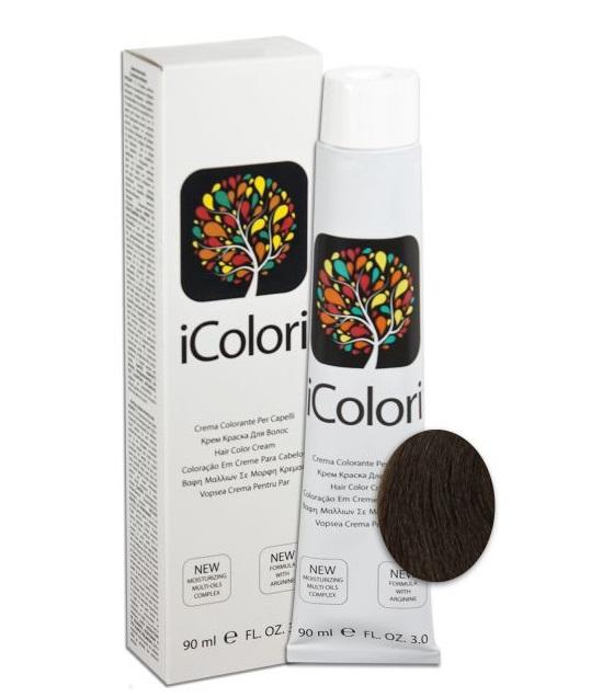 KAYPRO 5.03 краска для волос, теплый натуральный светло-коричневый / ICOLORI 90млКраски<br>Инновационный стойкий краситель с минимальным содержанием аммиака. Так же содержит Аргинин, применение которого в профессиональных косметических средствах направлено на стимулирование роста волос, расширение сосудов кожи головы, способствует улучшению кровоснабжения и общему оздоровлению волосяного покрова. После окрашивания волосы становятся более блестящими и шелковистыми, цвет держится дольше. Все цвета можно смешивать между собой для получения широкого диапазона цветов. Крем-краска обладает повышенной степенью увлажнения, равномерной плотностью и стойкостью цвета - естественные цвета с богатыми тонами. Краситель был специально разработан, чтобы защитить волосы и кожу головы во время окрашивания. Легкий в применении. Способ применения: внимательно прочитайте инструкцию на упаковке! Всегда наносится на сухие немытые волосы! Не использовать металлические емкости для смешивания! Всегда одевать защитные перчатки! Провести предварительно тест на чувствительность. Определить натуральный уровень тона волос или уровень косметического тона окрашенных волос. Выберите желаемый цвет. Подготовить красящую смесь с наиболее подходящим процентом перекиси водорода iColori: 10 vol (3%) — 20 vol (6%) — 30 vol (9%) — 40 vol (12%). &amp;nbsp; Действие &amp;nbsp; Результат &amp;nbsp; Пропорции смешивания &amp;nbsp; &amp;nbsp;Оксидант &amp;nbsp; Время выдержки &amp;nbsp; Тон осветления &amp;nbsp; Перманентное окрашивание &amp;nbsp; 100&amp;nbsp;% окрашивание седых волос &amp;nbsp; 1:1,5 &amp;nbsp; 10-20-30-40 Vol &amp;nbsp; 30-40 &amp;nbsp; 1-3 &amp;nbsp; Осветление &amp;nbsp; &amp;nbsp; 1:2 &amp;nbsp; 40&amp;nbsp;Vol &amp;nbsp; 40-50 &amp;nbsp; 4 &amp;nbsp; Тонирование &amp;nbsp; Окрашивание седых волос на&amp;nbsp;70&amp;nbsp;% &amp;nbsp; 1:2 &amp;nbsp; 7&amp;nbsp;Vol &amp;nbsp; 20-25 &amp;nbsp; - Основные принципы теории цвета. Основные цвета: красный, желтый и синий. Путем смешивания основных