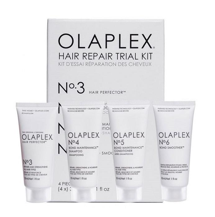 Купить OLAPLEX Набор Комплексный активный уход, защита и восстановление (эликсир No.3 30 мл, шампунь №4 30 мл, кондиционер №5 30 мл, крем №6 30 мл) Olaplex Trial Kit