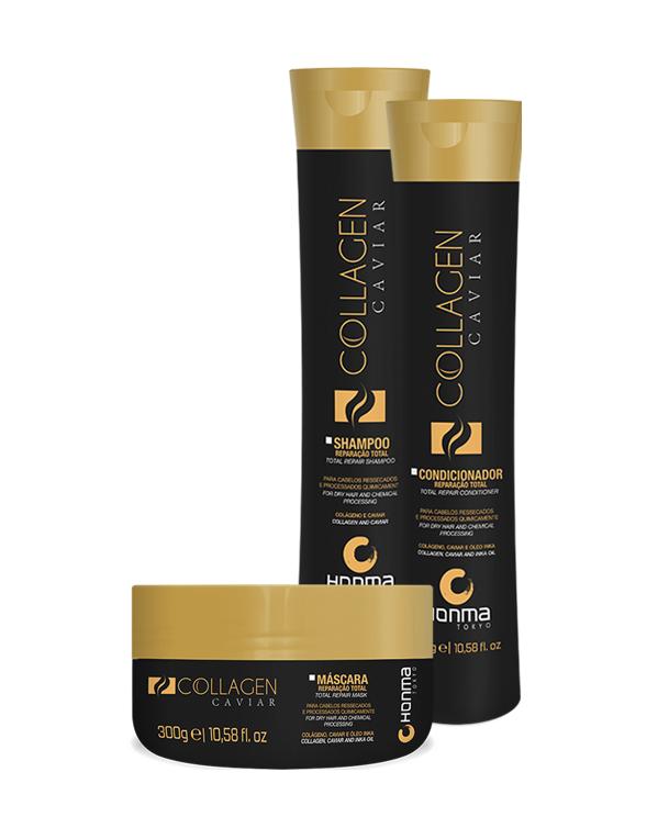 Купить HONMA TOKYO Набор для очень сухих химически поврежденных волос (шампунь 300 мл, кондицинер 300 мл, маска 300 мл) Collagen Caviar