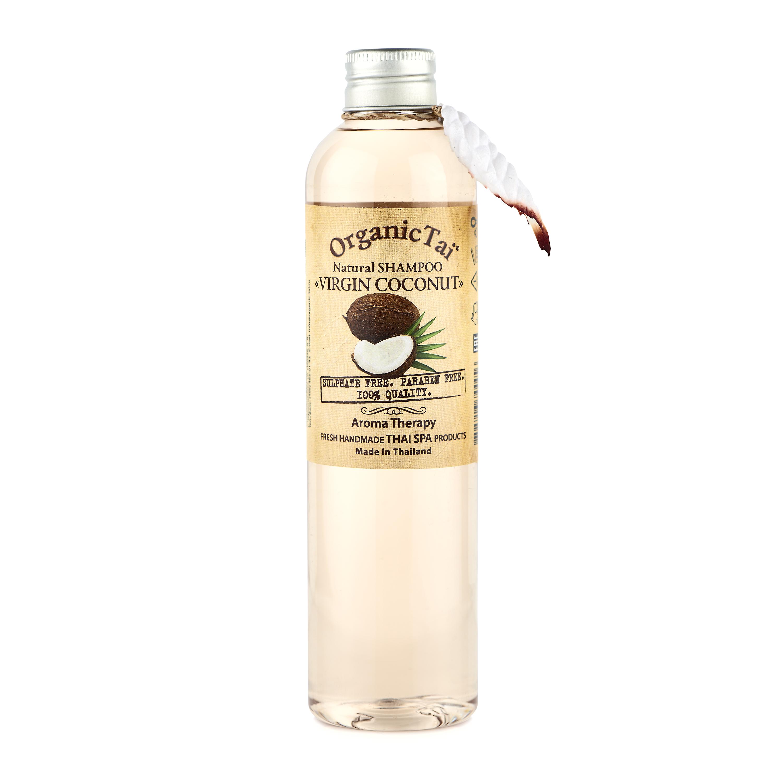 ORGANIC TAI Шампунь натуральный для волос Вирджин кокос 260мл organic tai массажное масло для лица жасмин жожоба и сладкий миндаль 120 мл