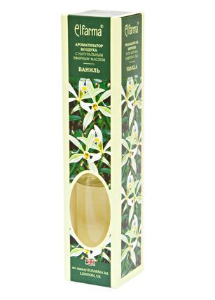 ELFARMA Ароматизатор воздуха с натуральным эфирным маслом Ваниль 50млАроматы для интерьера<br>Эфирное масло ванили, входящее в состав ароматизатора, наполнит комнату теплым и нежным запахом ванили. Тростниковые ароматизаторы Эльфарма удобный, безопасный и экономичный способ придать помещению восхитительный аромат: - не содержат токсичных и разрушающих озоновый слой веществ - эффективно удаляют неприятные запахи - аромат сохраняется от 1 до 4 мес. - просто: откройте флакон и вставьте в него тростниковые палочки. Когда они пропитаются жидкостью, воздух наполнится ароматом. - стильное дополнение интерьера В наборе: ароматизатор воздуха в стеклянном флаконе с деревянной пробкой, тростниковые палочки Активные ингредиенты: вода, парфюмерная композиция Способ применения: откройте флакон и вставьте в него тростниковые палочки. Когда они пропитаются жидкостью, воздух наполнится ароматом. Интенсивность запаха можно регулировать, меняя количество палочек в диффузоре. Для небольшого помещения достаточно 3-х палочек во флаконе. Противопоказания: индивидуальная непереносимость, обострение аллергии Меры предосторожности: хранить в недоступном для детей месте. При попадании в глаза промыть проточной водой. Следует избегать соприкосновения жидкости с деревянными и пластиковыми поверхностями. Способ хранения: хранить при комнатной температуре<br>
