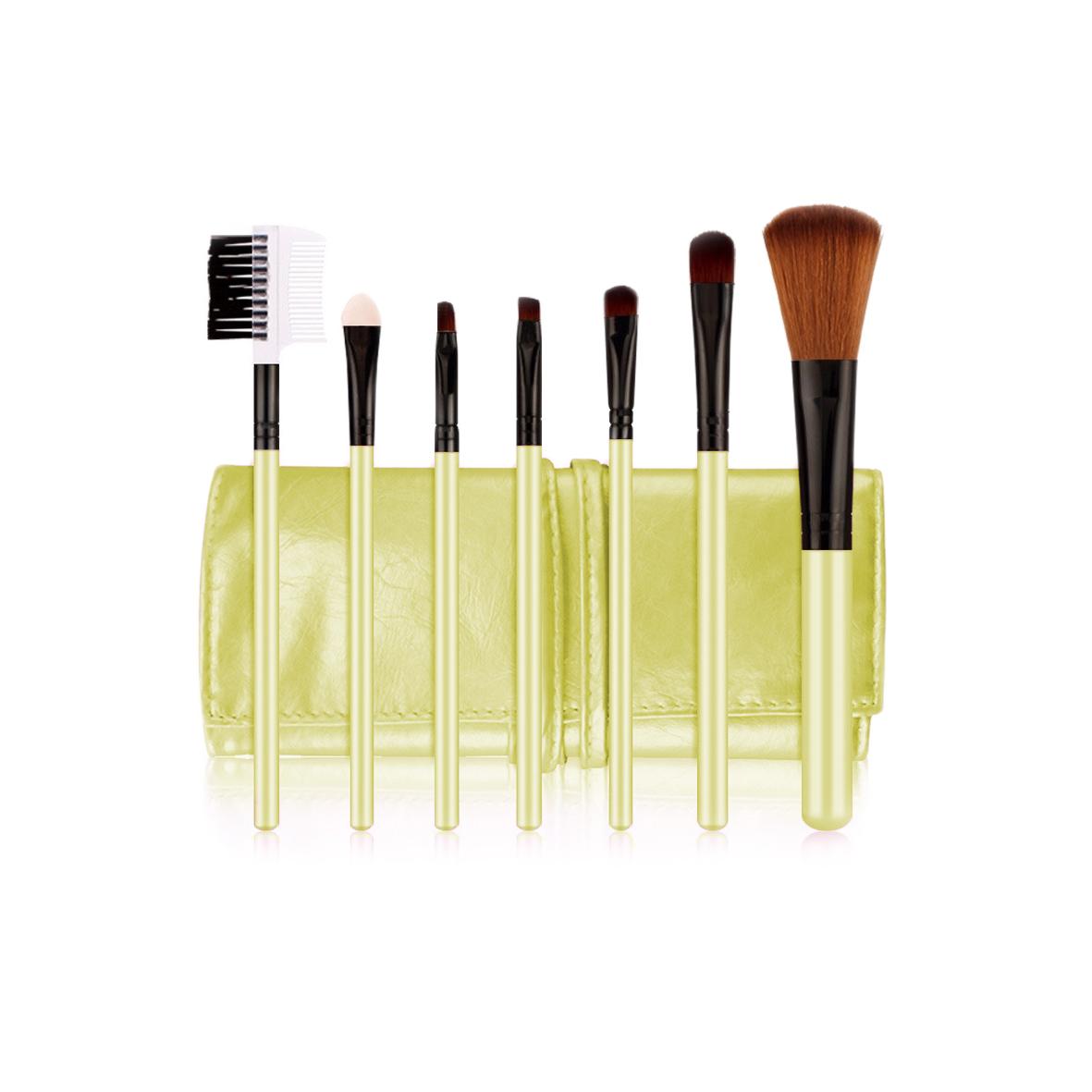 POSH Набор кистей для профессионального макияжа (волокно кинеколон), золотой кожаный чехол 7шт
