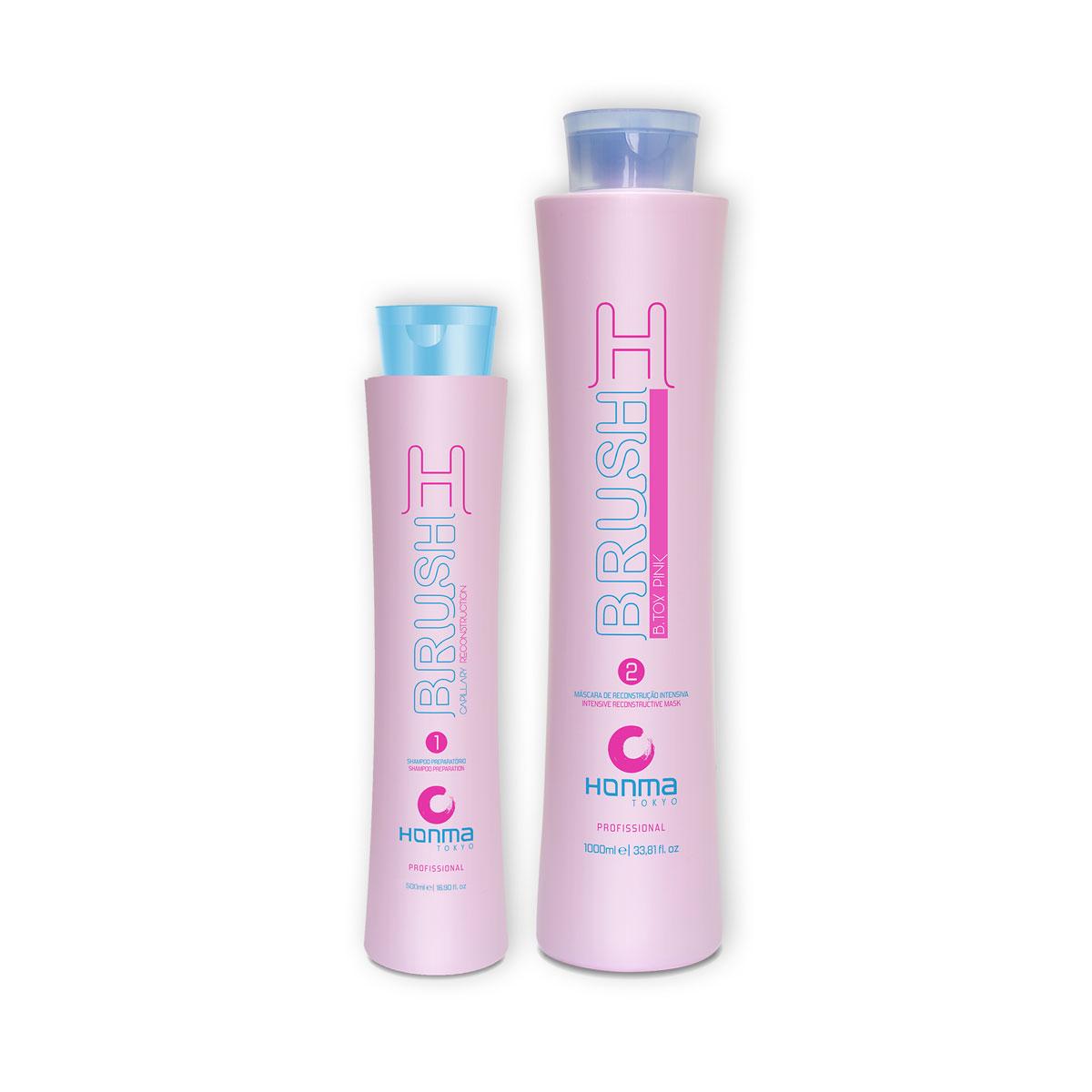 Купить HONMA TOKYO Набор для восстановления и разглаживания волос с розовым пигментом (шампунь 500 мл, маска реконструктор 1000 мл) H-Brush Botox Capilar Pink, Розовый