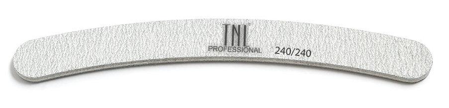 TNL PROFESSIONAL Пилка бумеранг для ногтей 240/240, серая (в индивидуальной упаковке)