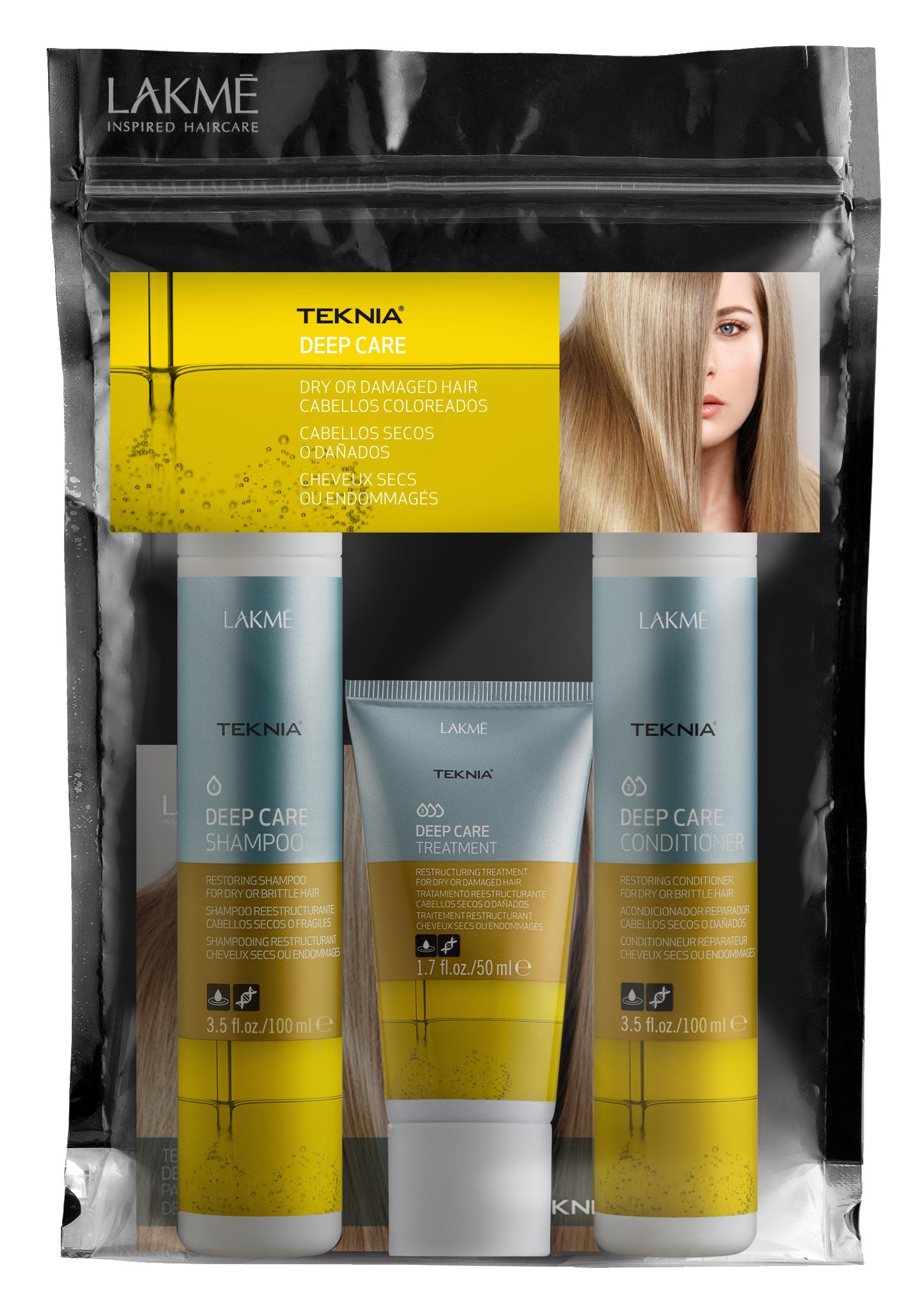 Купить LAKME Набор для сухих и поврежденных волос (шампунь 100 мл, кондиционер 100 мл, маска 50 мл) Teknia Deep Care Travel Pack