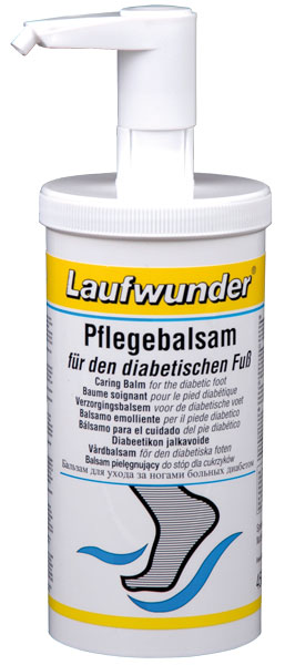 LAUFWUNDER Бальзам для ухода за диабетической стопой (с дозатором) 450млБальзамы<br>Специально разработан для ежедневного, бережного ухода за чувствительной, сухой кожей, склонной к появлению трещин и ранок. Бальзам способствует питанию и разглаживанию кожи, повышает восстанавливающие свойства клеток эпидермиса. Дезинфицирующие компоненты, содержащиеся в бальзаме, значительно снижают возможность инфицирования кожи, через образовывающиеся повреждения. Cостав: масло герани, масло лимона и лимонник.<br><br>Объем: 450<br>Вид средства для тела: Антисептический<br>Назначение: Трещины