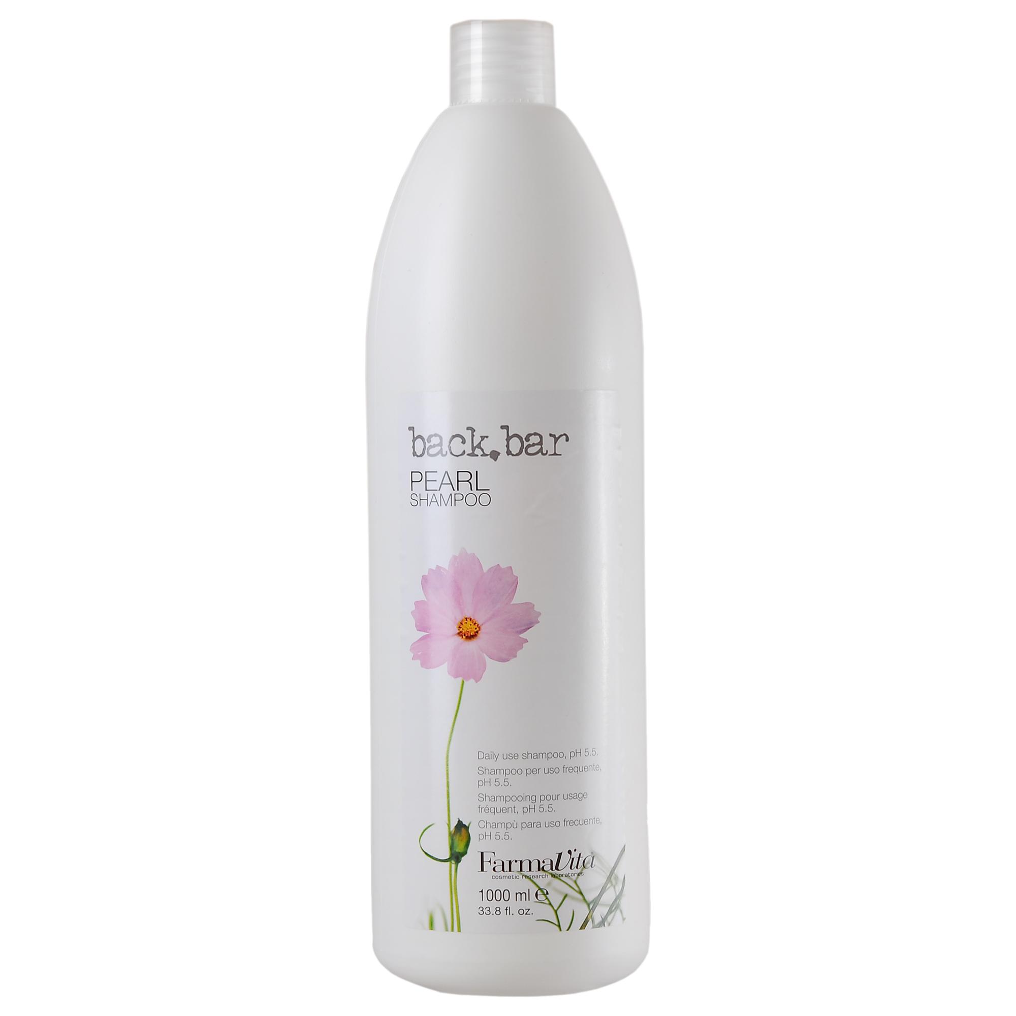 FARMAVITA Шампунь жемчужный Pearl Shampoo / BACK BAR 1000 млШампуни<br>Жемчужный шампунь Back Bar (Бэк бар перл) - увлажняющий и смягчающий шампунь для ежедневного использования, рН 5.5. Физиологический, для всех типов волос, включая сухие и ослабленные. Питает волосы, не утяжеляя их, регулирует рН кожи головы. Способ применения: ежедневный жемчужный шампунь Back Bar Pearl может использоваться с любым бальзамом или маской в зависимости от конкретной проблемы, которую нужно решить (питание, увлажнение, создание гладких причесок или объем).<br><br>Объем: 1000 мл<br>Вид средства для волос: Увлажняющий