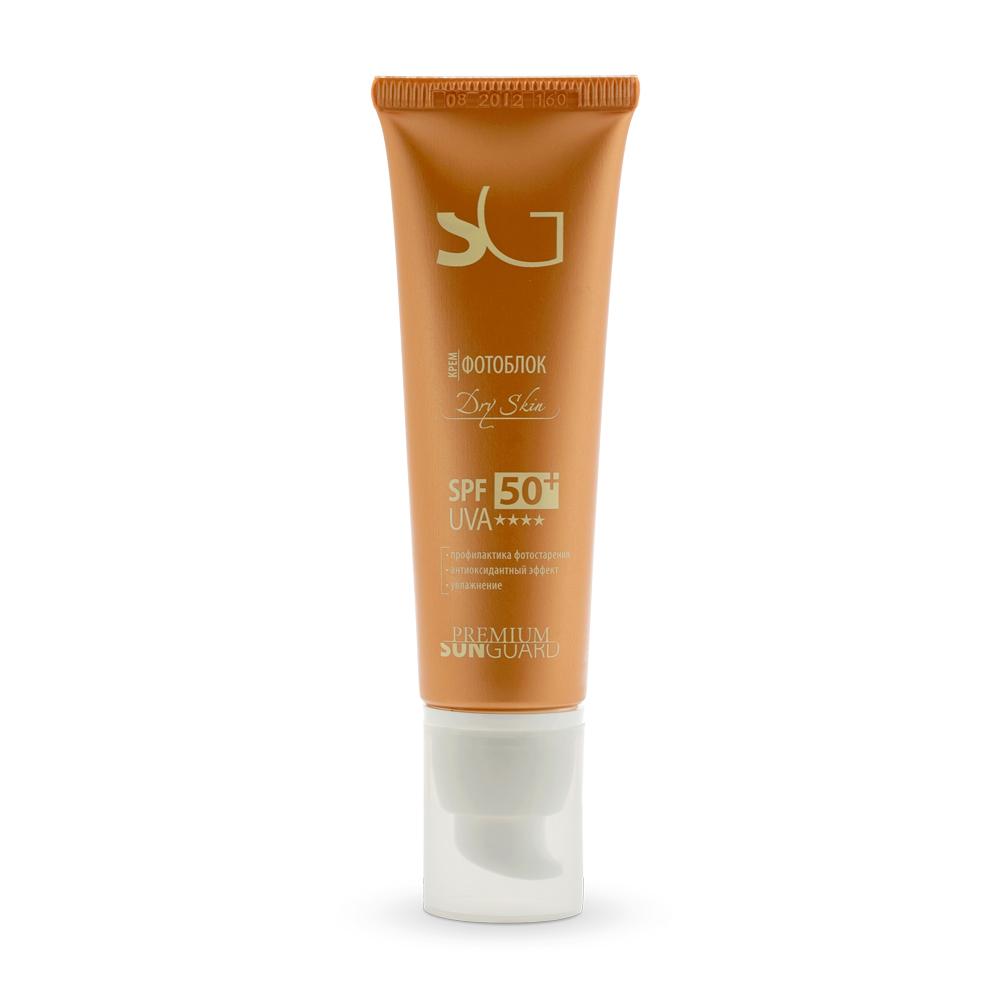 PREMIUM Крем фотоблок Dry Skin SPF50 / Sunguard 50млКремы<br>Профессиональный препарат для блокировки солнечных лучей спектра А и В при уходе за сухой и сухой увядающей кожей лица. Разработан с учетом физиологических особенностей сухой и сухой увядающей кожи, обладает гидратантным и лифтинговым эффектами, обогащает кожу липидами (в том числе ненасыщенными жирными кислотами). Рекомендован для защиты от УФО во время и после курса проведения отбеливающих процедур, пилингов (в том числе химических), лазерной эпиляции, пластических операций.&amp;nbsp; Активные ингредиенты: UVA и UVB-фильтры, витамины А, Е, масло жожоба, Prodew-400 , экстракт женьшеня. Способ применения:&amp;nbsp;при различных кожных заболеваниях, приеме фотосенсибилизирующих лекарств, противопоказаниях к УФ-лучам, при 1-м и частично 2-ом типе кожи с высоким содержанием феомеланина, а также после косметологических процедур. Равномерно нанести крем на лицо за 15 минут до выхода на улицу.<br><br>Типы кожи: Возрастная
