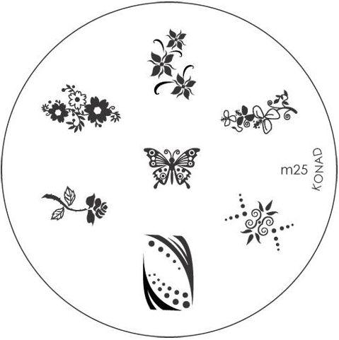 KONAD Форма печатная (диск с рисунками) / image plate M25 10грСтемпинг<br>Диск для стемпинга Конад М25 с цветочками, бабочкой и розой. Несколько видов изображений, с помощью которых вы сможете создать великолепные рисунки на ногтях, которые очень сложно создать вручную. Активные ингредиенты: сталь. Способ применения: нанесите специальный лак&amp;nbsp;на рисунок, снимите излишки скрайпером, перенесите рисунок сначала на штампик, а затем на ноготь и Ваш дизайн готов! Не переставайте удивлять себя и близких красотой и оригинальностью своего маникюра!<br>