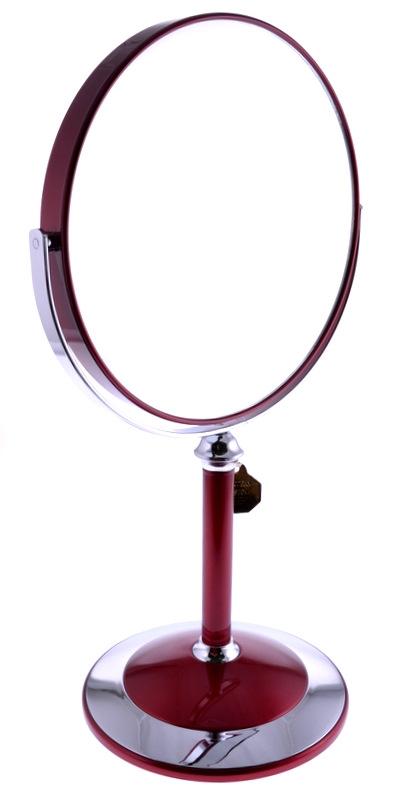 WEISEN Зеркало настольное круглое 2х стороннее 18 см / B78011 RUBY/C RedЗеркала<br>Зеркало косметическое, настольное, двустороннее. Изготовлено из хромированного металла и пластмассы покрытой цветным лаком. Тончайшее высококачественное стекло, используемое при изготовлении (1,5 мм), не даёт искривлений зеркальной поверхности. Увеличение в 5 раз. Приятный, красивый подарок для любой женщины. Высота: 33,5 см. Диаметр: 18 см. Увеличение: 5-ти кратное Материал (состав): пластик с лаковым покрытием, металл, стекло Цвет: Красный/Серебро<br>