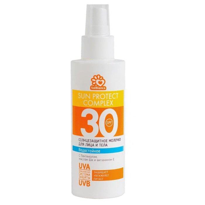 SOLBIANCA Молочко-спрей солнцезащитное водостойкое для лица и тела SPF 30 150 мл