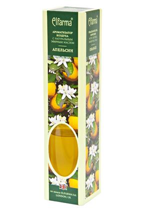 ELFARMA Ароматизатор воздуха с натуральным эфирным маслом Апельсин 50млАроматы для интерьера<br>Эфирное масло апельсина, входящее в состав ароматизатора, наполнит комнату ярким, освежающим ароматом. Тростниковые ароматизаторы Эльфарма удобный, безопасный и экономичный способ придать помещению восхитительный аромат: - не содержат токсичных и разрушающих озоновый слой веществ - эффективно удаляют неприятные запахи - аромат сохраняется от 1 до 4 мес. - просто: откройте флакон и вставьте в него тростниковые палочки. Когда они пропитаются жидкостью, воздух наполнится ароматом. - стильное дополнение интерьера В наборе: ароматизатор воздуха в стеклянном флаконе с деревянной пробкой, тростниковые палочки Активные ингредиенты: вода, парфюмерная композиция Способ применения: откройте флакон и вставьте в него тростниковые палочки. Когда они пропитаются жидкостью, воздух наполнится ароматом. Интенсивность запаха можно регулировать, меняя количество палочек в диффузоре. Для небольшого помещения достаточно 3-х палочек во флаконе. Противопоказания: индивидуальная непереносимость, обострение аллергии Меры предосторожности: хранить в недоступном для детей месте. При попадании в глаза промыть проточной водой. Следует избегать соприкосновения жидкости с деревянными и пластиковыми поверхностями. Способ хранения: хранить при комнатной температуре<br><br>Объем: 50 мл
