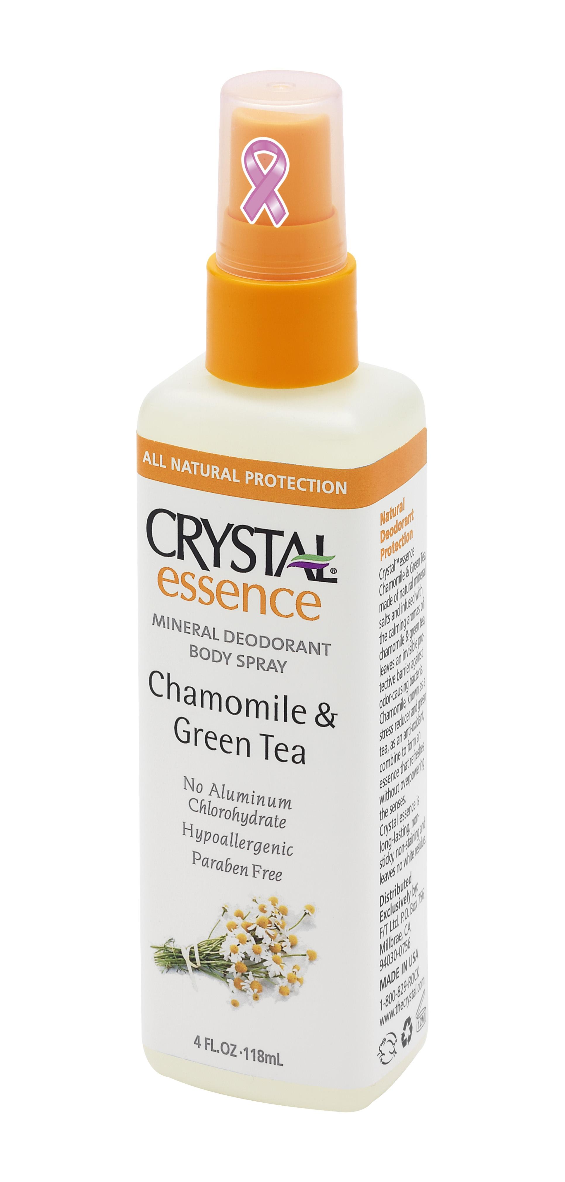 CRYSTAL Дезoдорант-спрей Ромашка+Зеленый чай Crystal Sprey Chamomile &amp; GreenTea 118млДезодоранты<br>Антибактериальный дезодорант-спрей Кристалл Эссенсе для тела. Создан на основе натуральных минеральных солей с экстрактами ромашки и зеленого чая. Предназначен для полной защиты от бактерий и неприятного запаха в течение дня. Обладает мощным антибактериальным эффектом в сочетании с легкими и нежными ароматами ромашки и зеленого чая. Комбинация успокаивающего действия ромашки и мощных антиоксидантов зеленого чая оказывает чрезвычайно благотворное влияние на Вашу кожу. Улучшенная конструкция спрея-распылителя позволяет нежно и экономно нанести дезодорант на Вашу кожу. Не содержит консервантов, не вызывает аллергии. Не прилипает и не оставляет белых следов или разводов на одежде. Способ применения: нажимая на распылитель нанести дезодорант на чистую кожу в утреннее время, после душа или ванны. Активные ингредиенты: натуральные минеральные соли (Potassium Alum), очищенная вода, квасцы калия, эфирные масла, целлюлоза, экстракт ромашки и зеленого чая.<br><br>Тип: Дезодорант-спрей