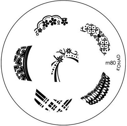 KONAD Форма печатная (диск с рисунками) / image plate M80 10грСтемпинг<br>Диск для стемпинга Конад М80 изображениями для френч маникюра с изумительными узорами. Несколько видов изображений, с помощью которых вы сможете создать великолепные рисунки на ногтях, которые очень сложно создать вручную. Активные ингредиенты: сталь. Способ применения: нанесите специальный лак&amp;nbsp;на рисунок, снимите излишки скрайпером, перенесите рисунок сначала на штампик, а затем на ноготь и Ваш дизайн готов! Не переставайте удивлять себя и близких красотой и оригинальностью своего маникюра!<br>