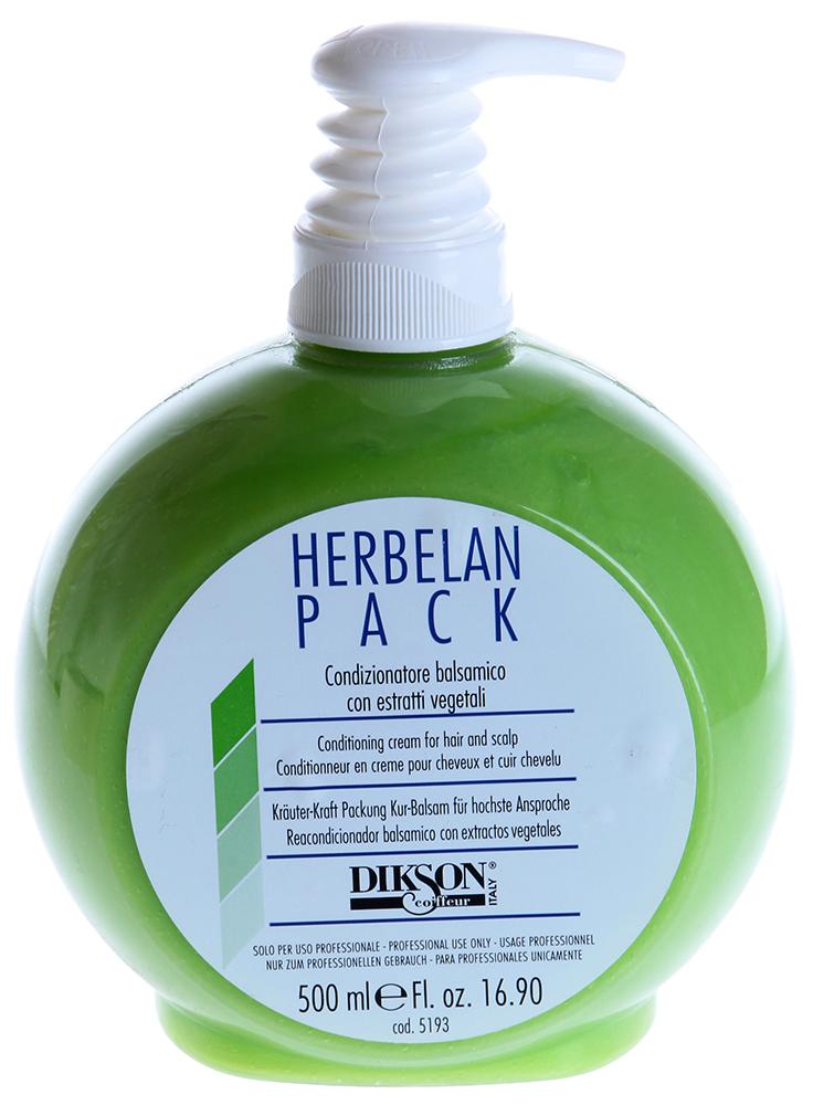 DIKSON Бальзам растительный / HERBELAN PACK 500млБальзамы<br>Один из самых эффективных продуктов DIKSON! В его состав входит травяная кислота, нейтрализующая продукты вялотекущего окисления после химических обработок волос,особенно после блондирования волос. Рекомендуется в качестве средства для ухода за окрашенными и осветленными волосами, так как благодаря действию травяной кислоты выравнивается структура и волосы сохраняют свой блеск. Масла ромашки и мальвы обладают противовоспалительным и успокаивающим действием. Ментол дезинфицирует, оживляет и охлаждает кожу головы, стимулируя ее кровоснабжение. Ценные ухаживающие вещества обволакивают волосы и делают их более гладкими и шелковистыми, облегчая при этом расчесывание. Активный состав: Травяная кислота, масла ромашки, мальвы; ментол.  Применение: После мытья шампунем промокнуть волосы полотенцем, нанести маск на все волосы, массировать для равномерного распределения. Оставить на 5-6 минут, затем хорошо промыть волосы. После этого перейти к обычным операциям расчесывания и сушки. Важно: не использовать бальзам сразу после окрашивания, так как содержащиеся в нем минералы и жирные кислоты могут адсорбировать в себя молекулы краски.<br><br>Объем: 500<br>Типы волос: Окрашенные