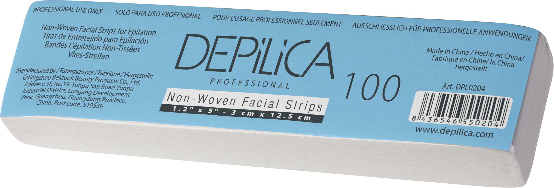 DEPILICA PROFESSIONAL Полоски нетканые для эпиляции / Non-Woven Facial Strips 3*12,5 см 100 шт