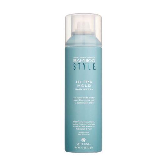 ALTERNA Лак для волос Ультрасильная фиксация / BAMBOO STYLE 250млЛаки<br>Alterna Bamboo Style Ultra Hold Hair Spray практически сразу после распыления на волосы надежно фиксирует Вашу укладку, при этом практически моментально высыхая на волосах. Спрей обеспечивает волосам защиту от влажного воздуха, не склеивает волосы и не делает их жесткими.&amp;nbsp; &amp;nbsp;Спрей для волос ультрасильной фиксации с экстрактом бамбука не содержит такие вредные компоненты: Парабены, Глютен, Хлорид натрия, Фталаты, Синтетические красители, Минеральное масло, Петролатум, PABA. Не тестируется на животных.&amp;nbsp; Активные ингредиенты: Органический экстракт бамбука, Экстракт корней голубой Юкки, Масло семян Лумбанга, Масло семян подсолнечника, Фосфолипиды.&amp;nbsp; Способ применения: Создайте укладку и равномерно распылите спрей по всей длине сухих волос на расстоянии 15-30 см.<br><br>Класс косметики: Натуральная