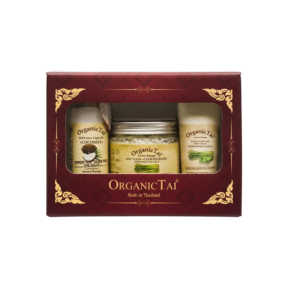 ORGANIC TAI Набор для тела Лемонграсс Кокос Мята (скраб для тела 200 г, масло кокоса холодного отжима 120 мл, экстраувлажняющий крем для ног 60 мл) OrganicTai
