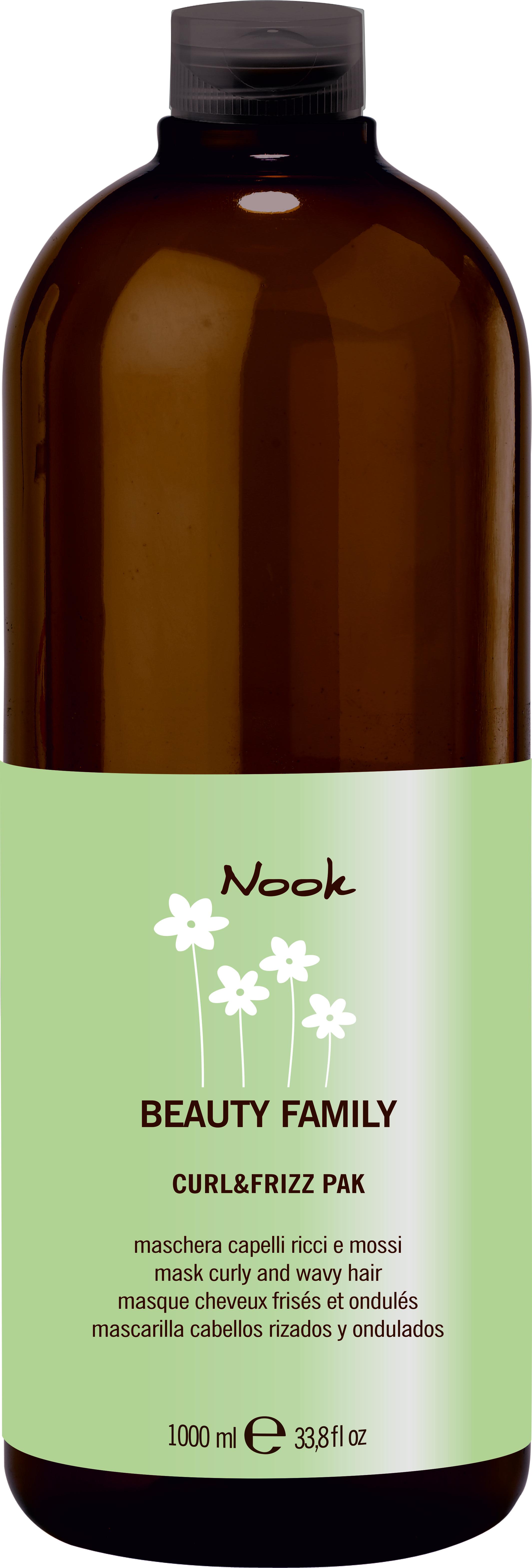 NOOK Маска для кудрявых волос Ph 5,0 / Curl &amp; Friz Pak BEAUTY FAMILY 1000 млМаски<br>Разглаживающая маска для кудрявых волос на основе экстрактов Алоэ-вера, Лимона и Эластина питает, восстанавливает эластичность и блеск. Обладает интенсивным anti-frizz эффектом, дисциплинирует волосы и помогает в дальнейшей укладке. Активные ингредиенты: масло ши, цетеариловый спирт , эсктракт лимона, эластин, алоэ-вера<br><br>Типы волос: Кудрявые